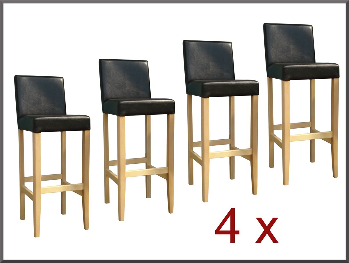 4x barhocker barstuhl holz buche natur hell leder dunkel braun neu ebay. Black Bedroom Furniture Sets. Home Design Ideas