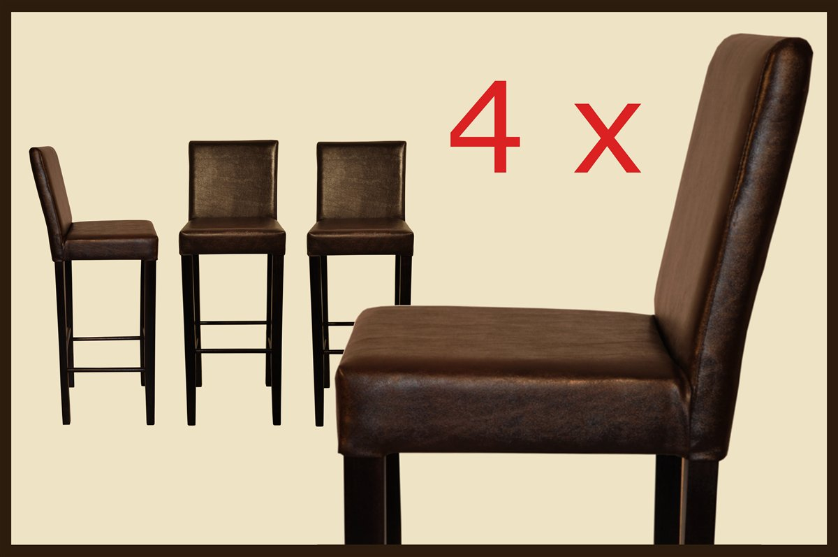 4x barhocker barstuhl holz leder dunkel braun wenge neu ebay. Black Bedroom Furniture Sets. Home Design Ideas