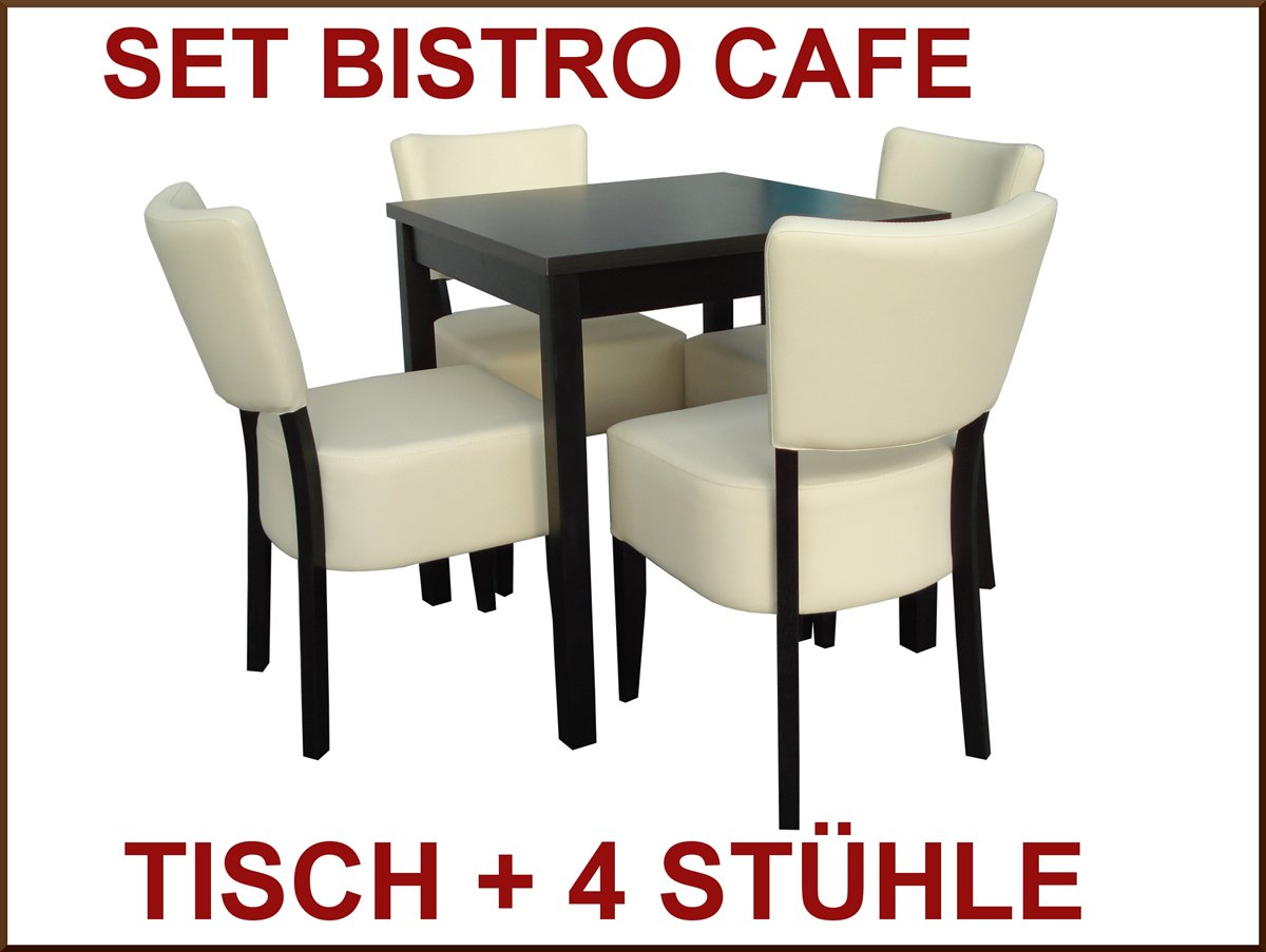 set 4 st hle tisch bistro cafe sitzgruppe event cafeteria leder gastronomie ebay. Black Bedroom Furniture Sets. Home Design Ideas