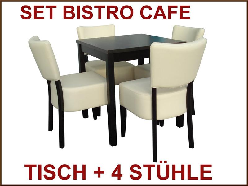 set 4 st hle tisch bistro cafe sitzgruppe event cafeteria leder gastronomie ebay. Black Bedroom Furniture Sets. Home Design Ideas
