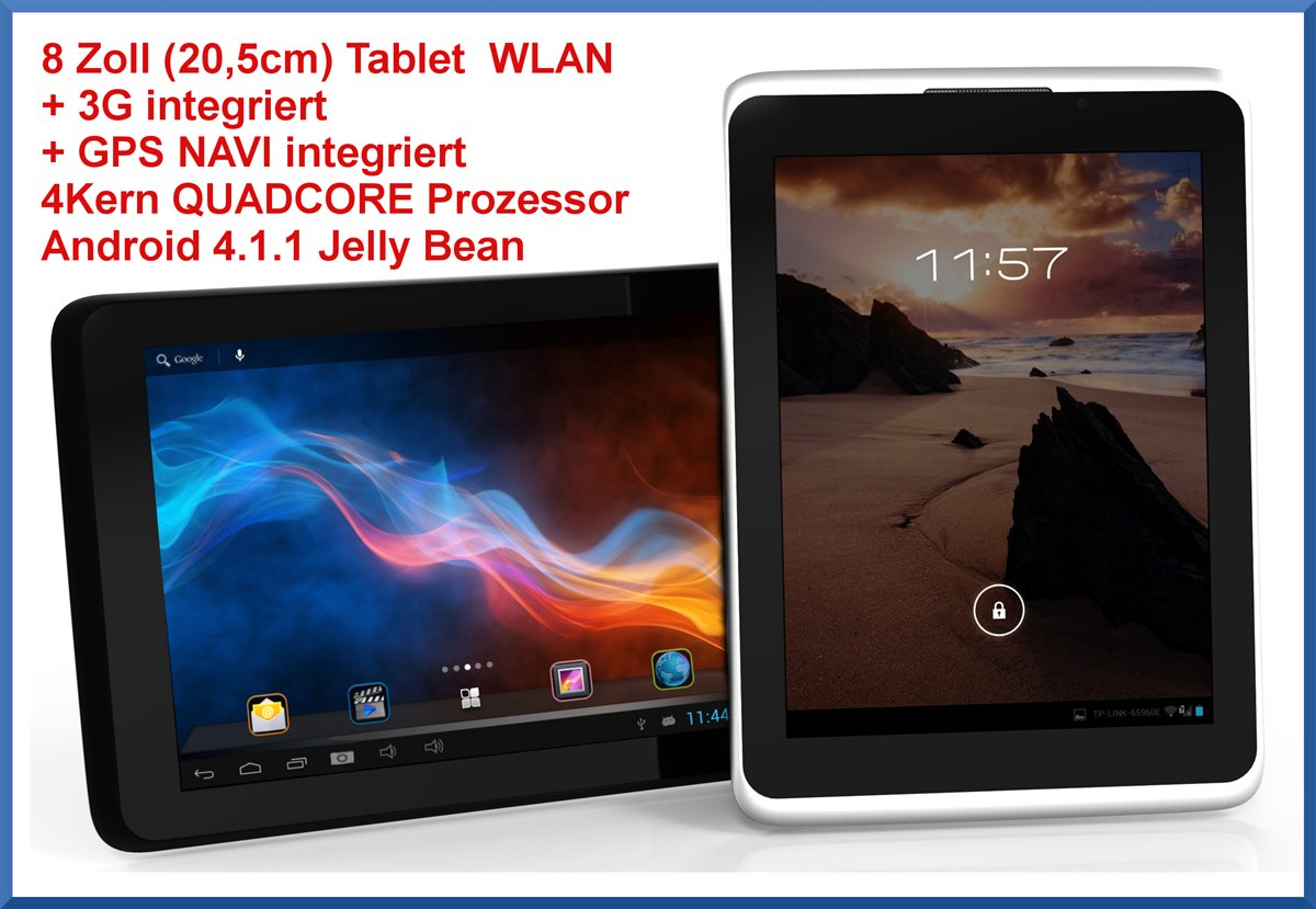8 zoll tablet navi gps ebook 3g wlan quadcore 2xkamera. Black Bedroom Furniture Sets. Home Design Ideas
